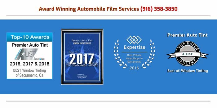 3rd Top-10 Best Auto Window Tinting Services Consecutive Awards by the Sacramento A-List Award Program for Premier Auto Tint of El Dorado Hills, CA 95762.