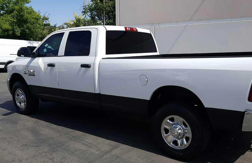 Auto Window Tinting Solar Gard Ultra Performance Film Service for a Dodge Ram Truck.